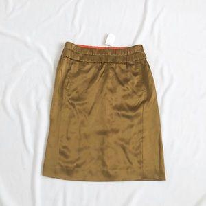J. Crew silk olive skirt sz:2 shiny pocketed midi
